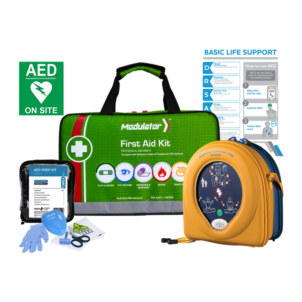 Home Defib Package and first aid kit