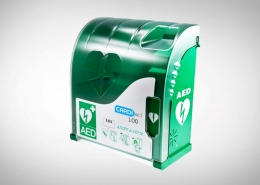 Defibrillator waterproof outdoor alarmed cabinet
